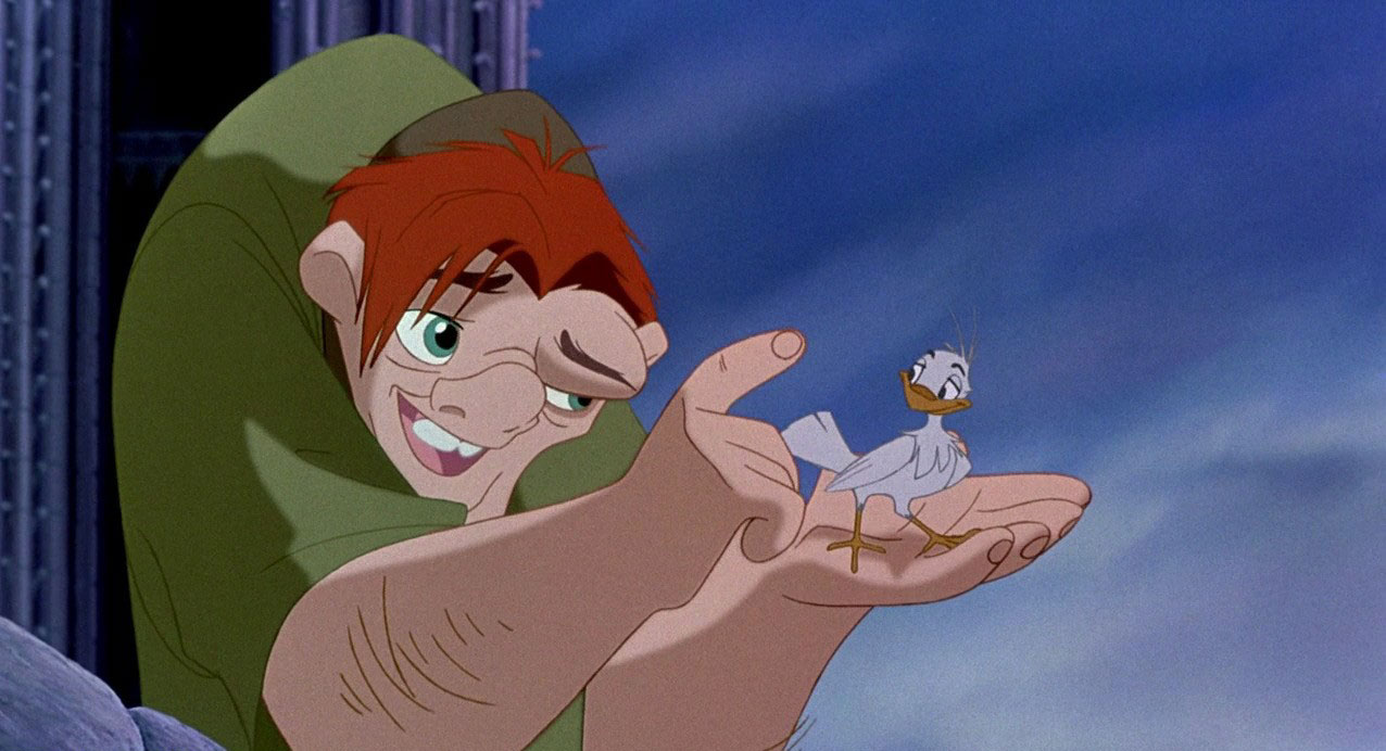 Quasimodo is the protagonist of Disney's 1996 animated film The Hunchback of Notre Dame and its 2002 sequel. Quasimodo was born deformed, possessing a hunched back, from which the film takes its name. In spite of his ghastly appearance, Quasimodo is naïve, kind-hearted and knows little of the world outside his bell tower home from which he is forbidden to leave.
