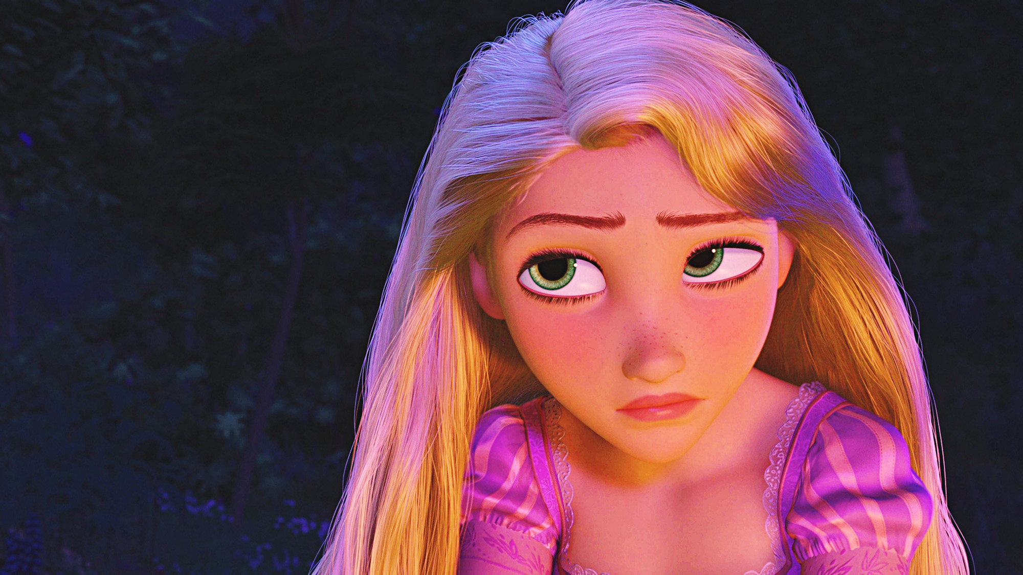 "Rapunzel is the protagonist of Disney's 2010 animated feature film Tangled. Rapunzel is loosely based on the classic German fairy tale ""Rapunzel"" by the Brothers Grimm. She is a very beautiful princess with long hair who, with the aid of a handsome thief, Flynn Rider, leaves her secluded tower to explore the outside world."
